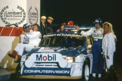 Tony Pond celebrates 1986 RAC rally in an MG Metro 6R4